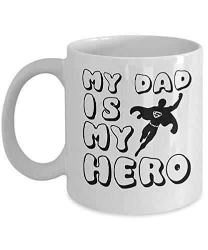 Taza de café con texto en inglés 'My Dad is My Hero, I Love You', el mejor regalo para papá, taza de café, regalo del día del padre para él (325 ml)