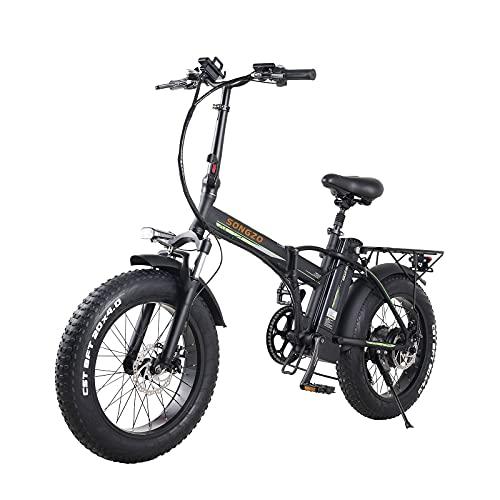 SONGZO Bicicleta Eléctrica Plegable de 20 Pulgadas 500W con Batería de Litio...