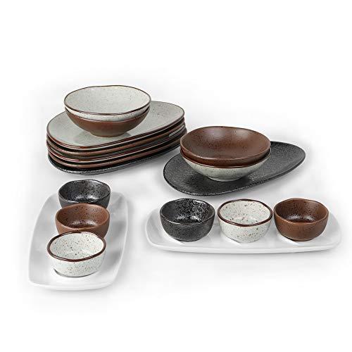 Holst Porzellan RT 014 - Juego de desayuno (18 piezas, porcelana, para 6 personas), color negro
