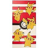 Primark Home - Toalla Pikachu de Pokemon para niño y niña para la Playa o la Ducha - 100% Algodon - Tamaño 140 x 70 cm. Colores: Blanco , Rojo, Amarillo y Negro - Toalla Playa niño y niña