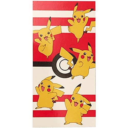Primark Home - Toalla Pikachu de Pokemon para niño y niña para la Playa o la Ducha - 100% Algodon - Tamaño 140 x 70 cm. Colores: Blanco , Rojo, Amarillo y Negro - Toalla Playa niño y niña ✅