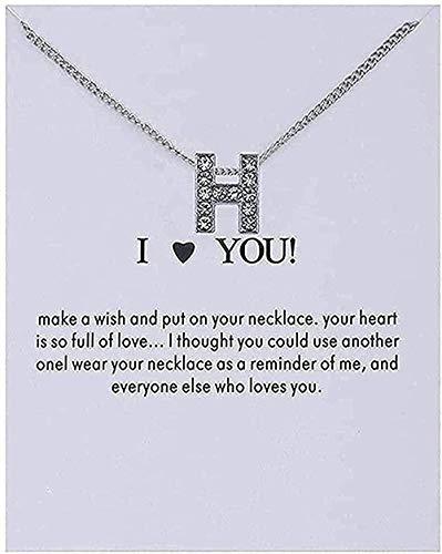 YOUZYHG co.,ltd Collar Mujer Nombre Personalidad Alfabeto Letras Iniciales Tarjeta de Mensaje Colgante Collares de Mujer Amo los Regalos de la joyería