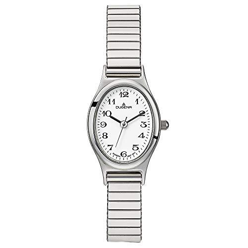 DUGENA Damen-Armbanduhr Vintage Comfort, Quarz, Edelstahlgehäuse, Mineralglas, Edelstahl-Zugband, 3 bar (Silber)