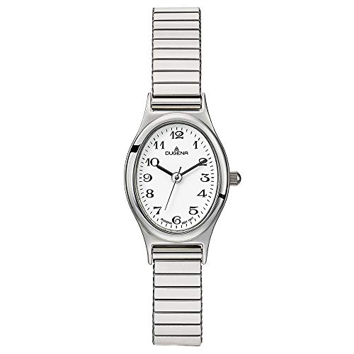 DUGENA Damen-Armbanduhr 4460748 Vintage Comfort, Quarz, weißes Zifferblatt, Edelstahlgehäuse, Mineralglas, Edelstahl-Zugband, 3 bar