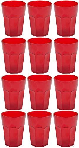 Design 12x Kunststoffbecher Becher Plastikbecher Trink-Gläser Mehrweg Fassungsvermögen 0,4l in der Farbe Rot
