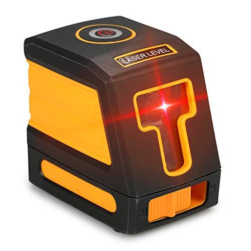 OWSOO Auto-nivelamento 2 linhas Nível de laser vermelho Kit profissional de nivelamento de linha cruzada horizontal e vertical com linhas de laser selecionáveis e propagação de feixe vertical