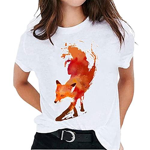 Liably Camiseta de verano para mujer, color blanco, multicolor, estampada, manga corta, cuello redondo, informal, blusa básica, elegante, para adolescentes naranja XL
