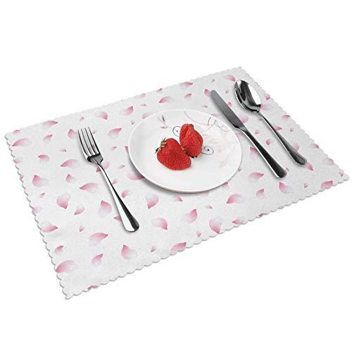 Manteles Individuales Rosa pálido 504, Mantel Individual Antideslizante Resistente Al Calor Salvamanteles Juego De 4 para La Mesa De Comedor De Cocina, 45x30 Cm