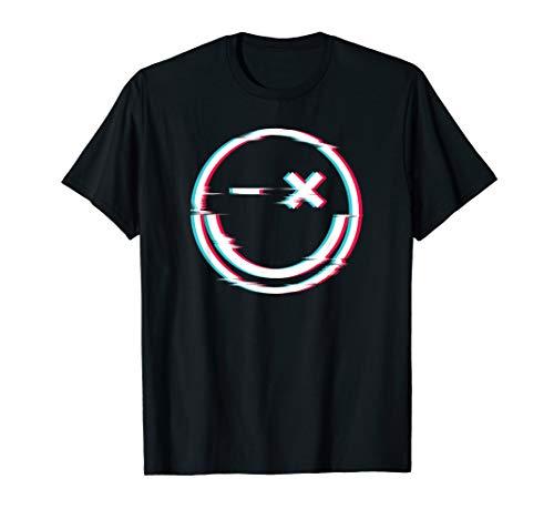 Glitch Techno Smiley - Techno Merchandise Festival Rave T-Shirt