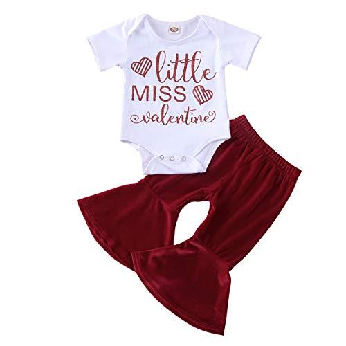 3 – 24 meses de bebé de manga corta con letra de San Valentín, pantalones esvasados rojos intermitentes, falda de media longitud en dos piezas rojo 12- 18 meses