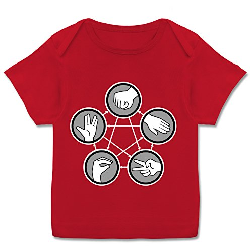 Up to Date Baby - Rock Paper Scissors Lizard Spock - Schere Stein Papier Echse Spock - 56-62 - Rot - Papier echse Spock Shirt - E110B - Kurzarm Baby-Shirt für Jungen und Mädchen in verschiedenen