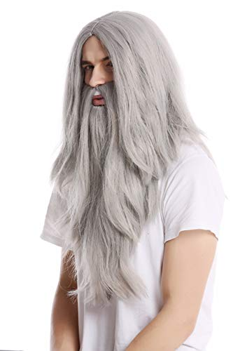 WIG ME UP- PW0210-ZA68E Peluca Lisa Larga & Barba Carnaval Color Gris Mago profeta Motero Mayor