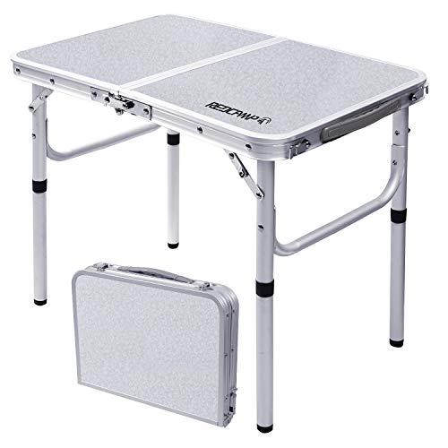 REDCAMPアウトドア テーブル折りたたみキャンプピクニック ロー 2段高さ調節 持ち運び アルミミニコンパクト 軽量 ガーデン室内 室外幅60×奥行40×高さ26/50cm