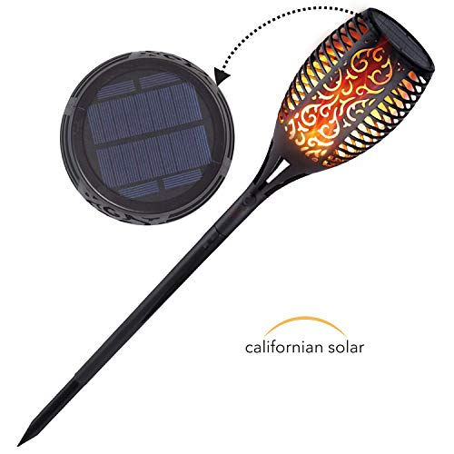 Californian Solar Decorative Solar Lights | Dusk to Dawn Solar Tiki Torch with Flickering Flame | Upgraded 44 inch Height | Waterproof and Dustproof Solar Lights | 1 Pack