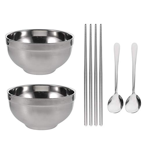 2 sets Stainless Steel Bowls Metal Snack Bowls Ramen Noodle Soup Bowl with Matching Spoon and Chopsticks (Blue)