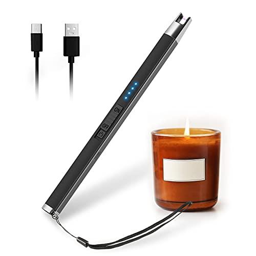 HOTERB Encendedor Eléctrico,Encendedor Velas con Acollador Correa Mechero Cocina Electrico USB-C Chargeable,Sin Llama a Prueba De Viento y Pantalla LED Mechero Electrico para Barbecue,Estufas de Gas