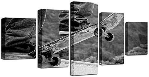 NC56 Pintura de Arte de Lienzo HD para decoración de Pared de Sala de Estar 5 Piezas Kick Scooter Imagen Deportiva 40x60 40x80 40x100cm sin Marco