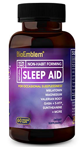 BioEmblem Natural Sleep Aid for Adults with Melatonin, Valerian Root, Suntheanine & More | Fast, Deep Sleep Supplement | Herbal Sleeping Pills | 60 Capsules