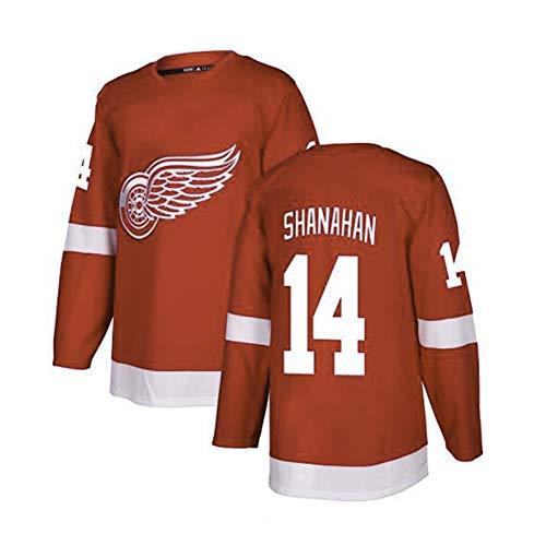 Herren Eishockey Trikot-14# Shanahan Detroit Red Wings Unisex Übungsuniform Athleten Jersey Jugend Sportswear Mesh Schnelltrocknendes Langarm Fans Sweatshirt-D-XXXL