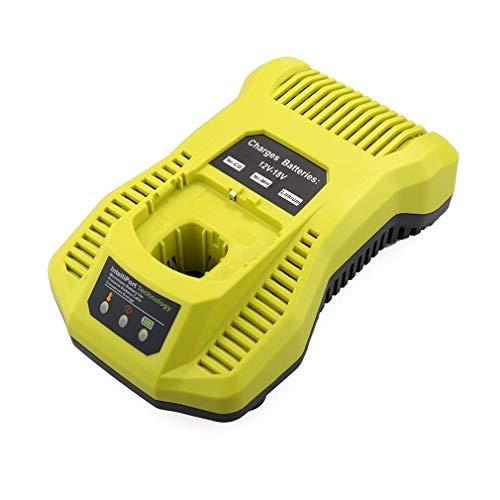 aixu Cargador De Batería 3A 12V-18V Recargable para Ryobi P117 Paquete De Batería Herramienta Eléctrica Verde EU