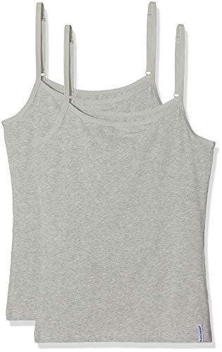 bruno banani Damen Trägershirts 2er Pack Tender Cotton Unterhemd, Grau (Graumelange 103), 42 (Herstellergröße: XL)