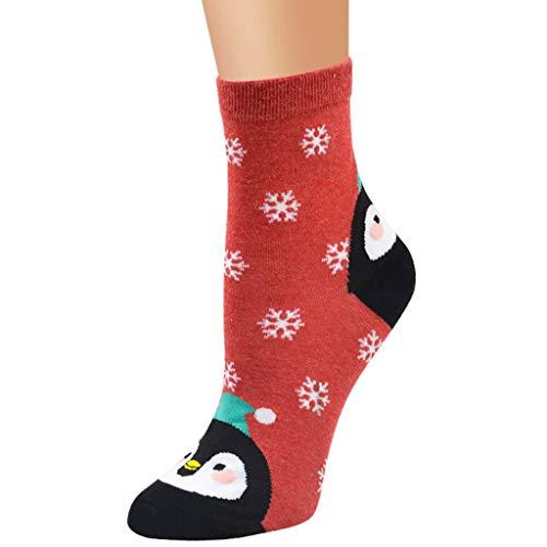 About1988 Weihnachten Socke, Baumwolle Tier Weihnachtsmann Weihnachten Socken Geschenke, Damen Socken Freizeit Strümpfe Niedliche Tiere Socken Design Baumwolle Bunt Muster Socken (Rot)