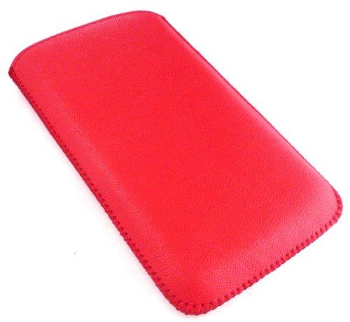 Emartbuy Value Pack für Samsung I9070 Galaxy S Advance Red Textured PU-Leder-Tasche / Case / Sleeve / Halter (Größe XXL) mit Zug-Vorsprung Mechanism + Kompatibel Micro USB Car Charger + LCD displayschutz