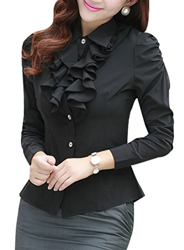 Yasong Women Ladies Long Sleeve Formal Top Work Blouse Frill Ruffle Blouse Black UK 10 steampunk buy now online
