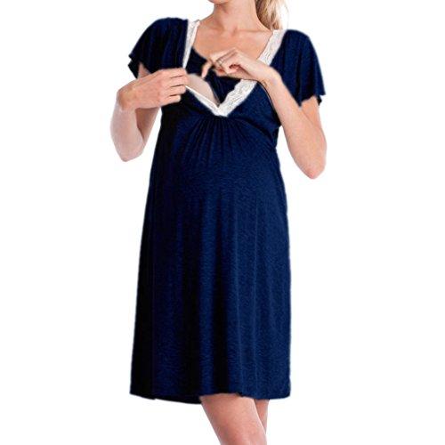 MEIHAOWEI Robe de maternité Nursery Nightdress pour l'allaitement Chemise de Nuit vêtements de Nuit Bleu Marine L