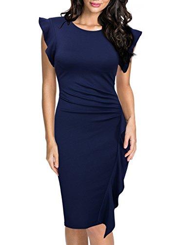 Miusol Casual Slim Fit Coctel Vestido de Lápiz para Mujer Azul Large