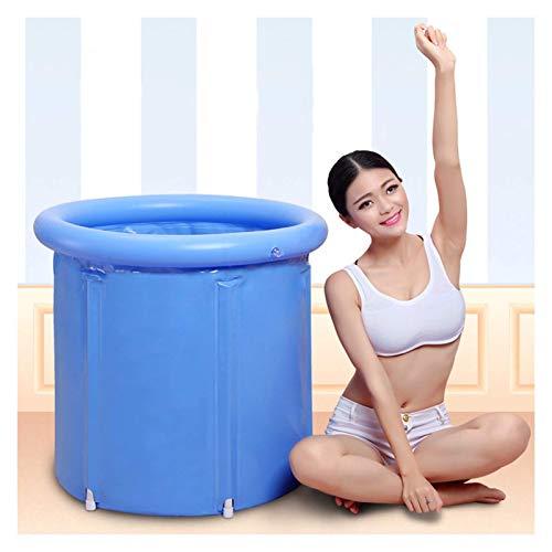 Bañera inflable para adultos, PVC caliente, portátil, barril de baño, bañera de plástico más grueso, bañera inflable con bomba de aire de pie para baño familiar o spa (Color: Azul, Tamaño: 75X75X