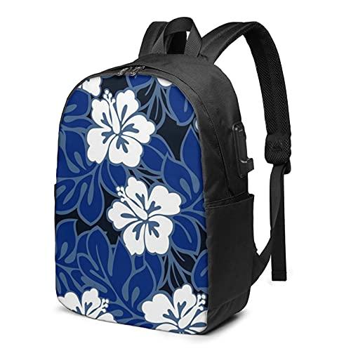 Zaino Hibiscuso blu per computer portatile da viaggio con porta di ricarica USB per uomini e donne 17', Come mostrato, Taglia unica,
