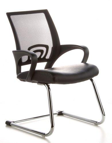 hjh OFFICE 650400 Sedia da conferenza/Sedia cantilever VISTO NET V mesh nero, finta pelle, braccioli fissi, schienale ergonomico, imbottitura spessa, cantilever, elegante, comoda