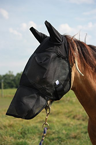 Horse Fly Mask with Long Nose and Ears, All Around Barn, Stable, Pasture, Trail Riding Fly and Sun Protection - Style: with Long Nose and Ears - Size: Horse