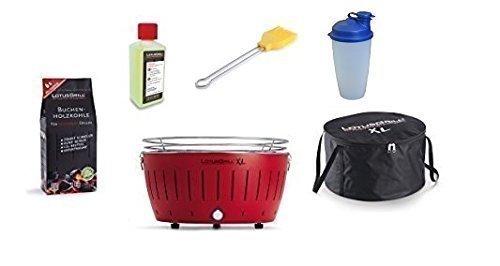 LotusGrill Barbecue XL Kit démarrage 1x Lotus Barbecue Charbon de Bois de hêtre XL Feu Rouge 1x 1kg, 1x Pâte Combustible 200ml, 1x Pinceau maïs Jaune, 1x Sac de Transport XL, 1x Shaker à Vinaigrette