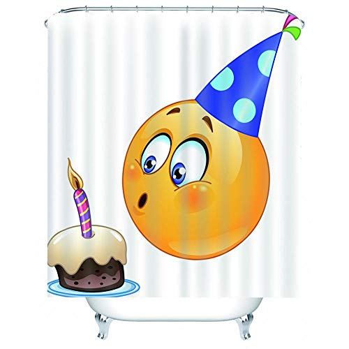 BROLAZ Duschvorhäng Cartoon Kuchen Emoji Duschvorhang Anti-Schimmel Duschvorhang aus Polyester Wasserabweisend Shower Curtain Anti-Bakteriell mit 12 Duschvorhangringen 180 x 200