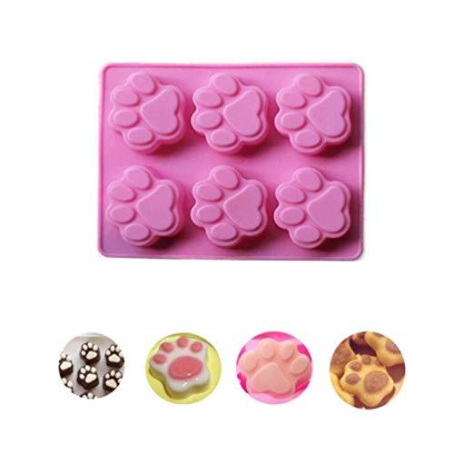 Dorime 1 PC Pfote Silikon-Kuchenform Katze paw Print Silikon-Biskuitkuchen Süßigkeiten Schokoladenform Seife Eiswürfelform