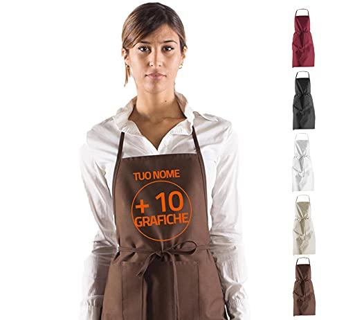 Hole Gadget S.r.l Grembiule Cucina Personalizzato con Il Tuo Nome e 10 Grafiche tra cui scegliere ottimo per Barbecue Uomo Donna Grembiuli stile Masterchef Personalizzabile Made in Italy