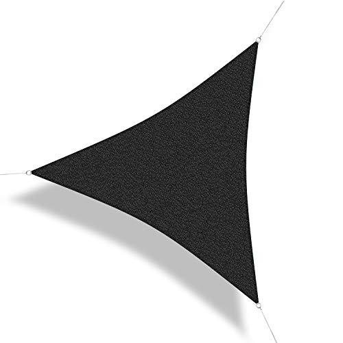 Corasol 160175 Premium Sonnensegel, 5 x 5 x 5 m, Dreieck, Wind- & wasserdurchlässig, schwarz