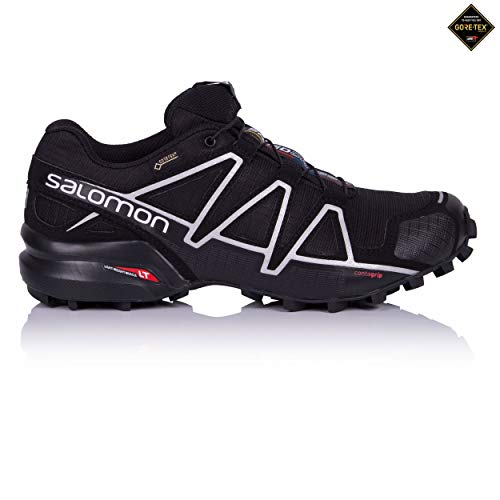 Salomon Herren Speedcross 4 GTX Trail Laufschuhe Wasserdicht, Schwarz (Black/Black/Silver METALLIC-X), 47 1/3 EU