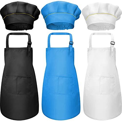 3 juego delantal para niños y gorro de chef, delantal de chef ajustable para niños con 2 bolsillos para cocina, cocina, horneado, pintura, jardinería para niños de 4 a 12 años (negro, azul, blanco)