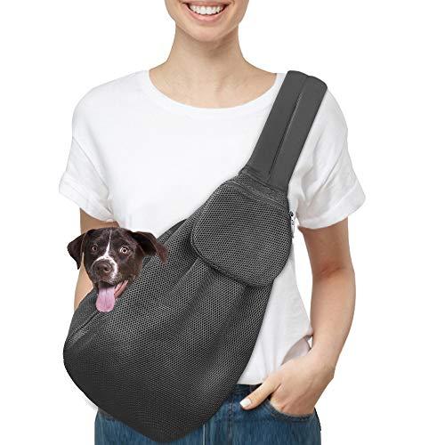Nasjac Tragetasche für Haustiere, Welpen Katze Hand frei Sling Carry Hund Papoose Carrie Einkaufstasche mit Front Tasche Sicherheitsgurt verstellbar gepolstert Schultergurt