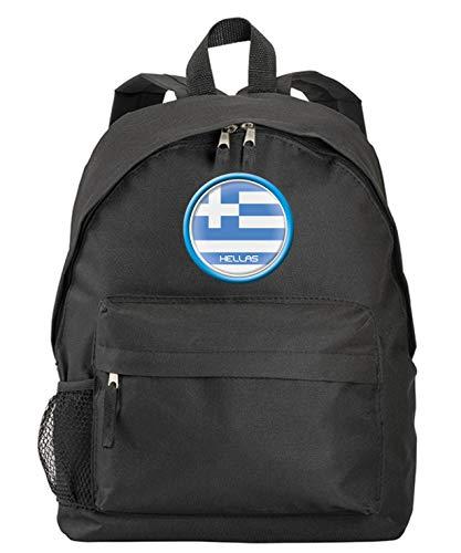 Griechenland Hellas Rucksack, schwarz, mit Flagge, Wappen, mit Reißverschlusstaschen und Trägern