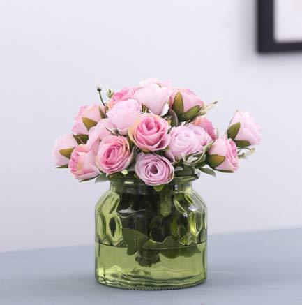 LLSTRIVE Kunstroos met vaas, kunstbloem, nepbloem, tafelbloem, huismeubels, verjaardagscadeau, roze + groen