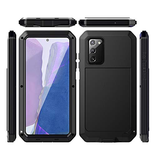 LUSTAM 360° Fullbody Case For Galaxy Note 20, LUSTAM Armor Tank Aluminum Metal Gorilla Glass Shockproof Military Heavy Duty Sturdy Protector Cover Hard Case for Samsung Galaxy Note 20 5G (6.7')- Black
