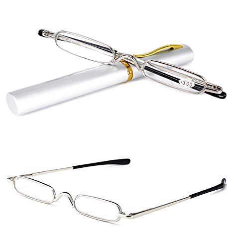 VEVESMUNDO® Lesebrille Damen Herren Federscharnier Metall Schmal Klein Mini Leicht Lesehilfe Sehhilfe Klare Arbeit Brillen Stärke mit Etui (Silber, 4.0)
