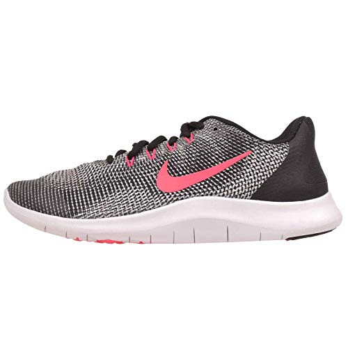 Nike Girls Flex 2018 RN (GS) Running Shoes (4.5 Big Kid M, Black/Racer Pink/White)