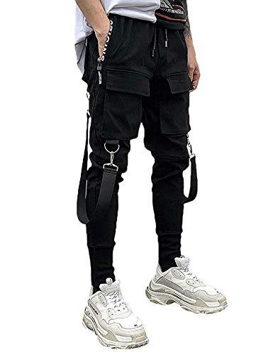 MOKEWEN Men's Multi Pocket Street Punk Hip Hop Casual Cargo Trousers Joggers Dancing Harem Pant 31-32
