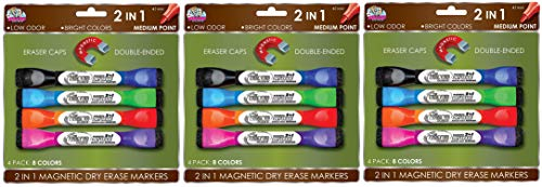 Board Dudes Double-Sided Magnetic Dry Erase Markers Assorted Colors 4-Pack (DDX89) (3-(Pack of 4))