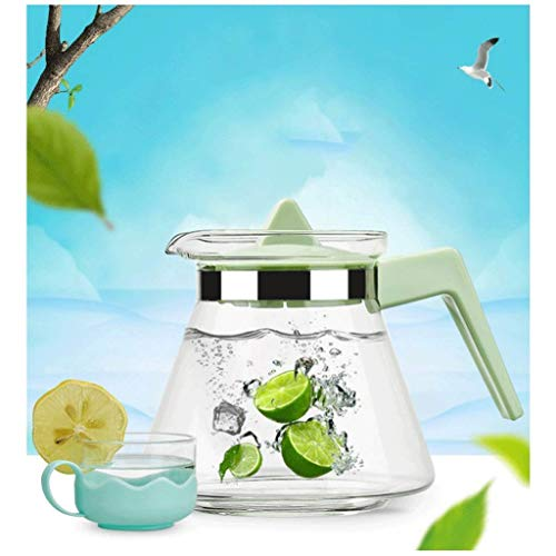 JiangKui Teapot Cold Water Glass Jug High Temperature Resistance Large Capacity Easy to Clean Water Outlet Olecranon DesignGreen